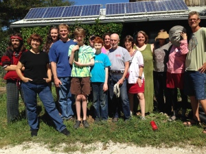My family and I with the rest of Dancing Rabbit's September visitors session.